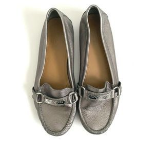 Coach Fredrica Loafers Size 9.5 Silver Shoes
